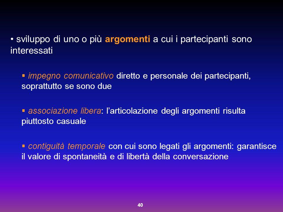 40 sviluppo di uno o più argomenti a cui i partecipanti sono interessati  impegno comunicativo diretto e personale dei partecipanti, soprattutto se s