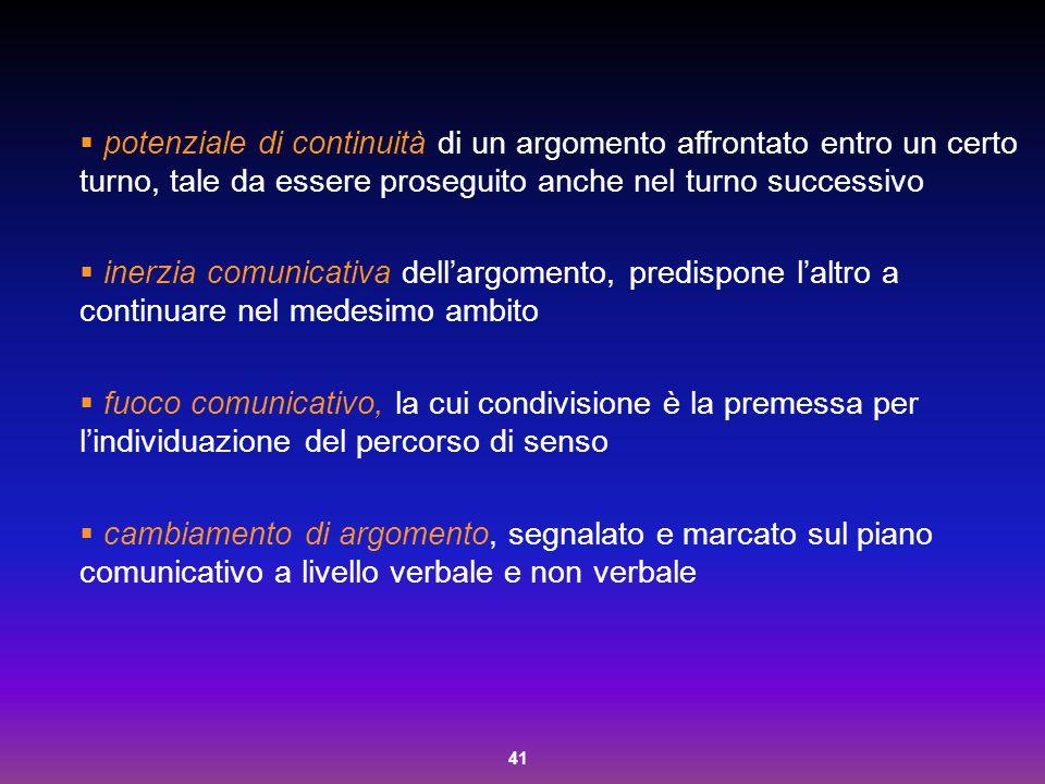 41  potenziale di continuità di un argomento affrontato entro un certo turno, tale da essere proseguito anche nel turno successivo  inerzia comunica