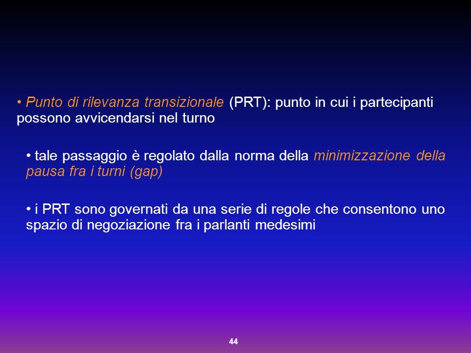 44 Punto di rilevanza transizionale (PRT): punto in cui i partecipanti possono avvicendarsi nel turno tale passaggio è regolato dalla norma della mini