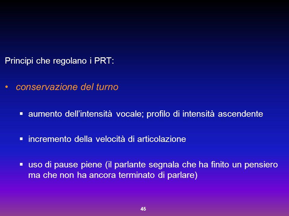 45 Principi che regolano i PRT: conservazione del turno  aumento dell'intensità vocale; profilo di intensità ascendente  incremento della velocità d