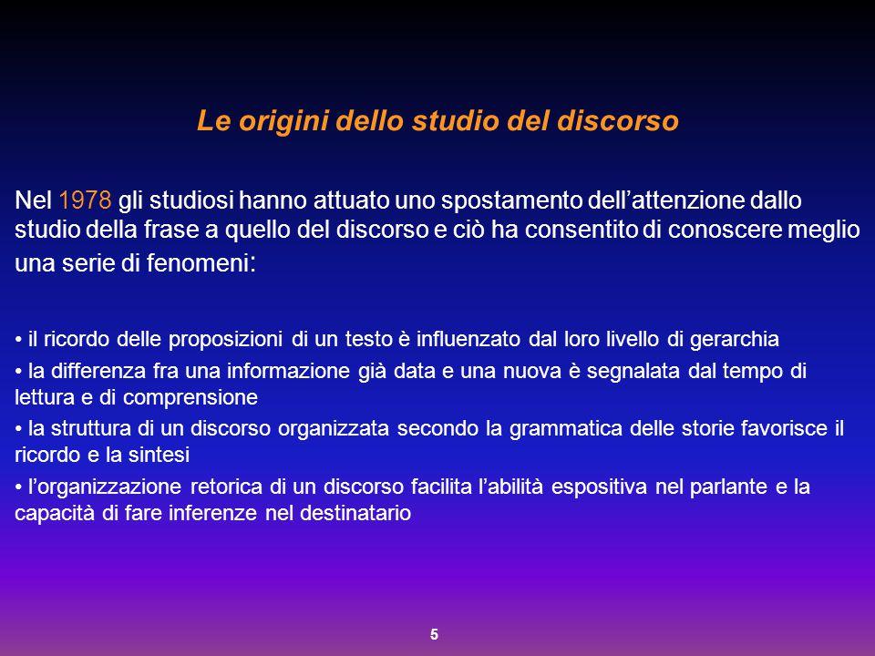 5 Le origini dello studio del discorso Nel 1978 gli studiosi hanno attuato uno spostamento dell'attenzione dallo studio della frase a quello del disco