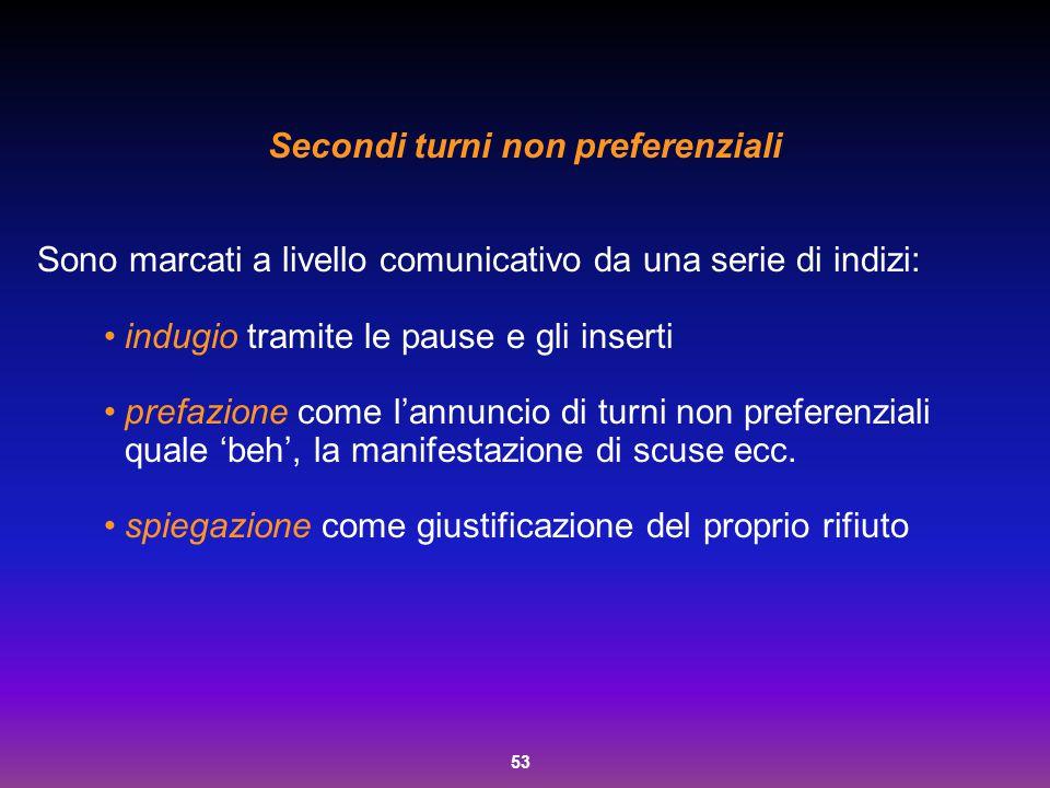 53 Secondi turni non preferenziali Sono marcati a livello comunicativo da una serie di indizi: indugio tramite le pause e gli inserti prefazione come