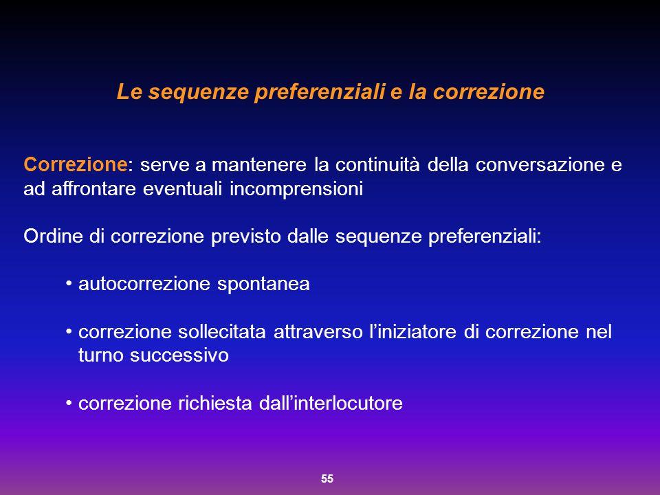 55 Le sequenze preferenziali e la correzione Correzione: serve a mantenere la continuità della conversazione e ad affrontare eventuali incomprensioni