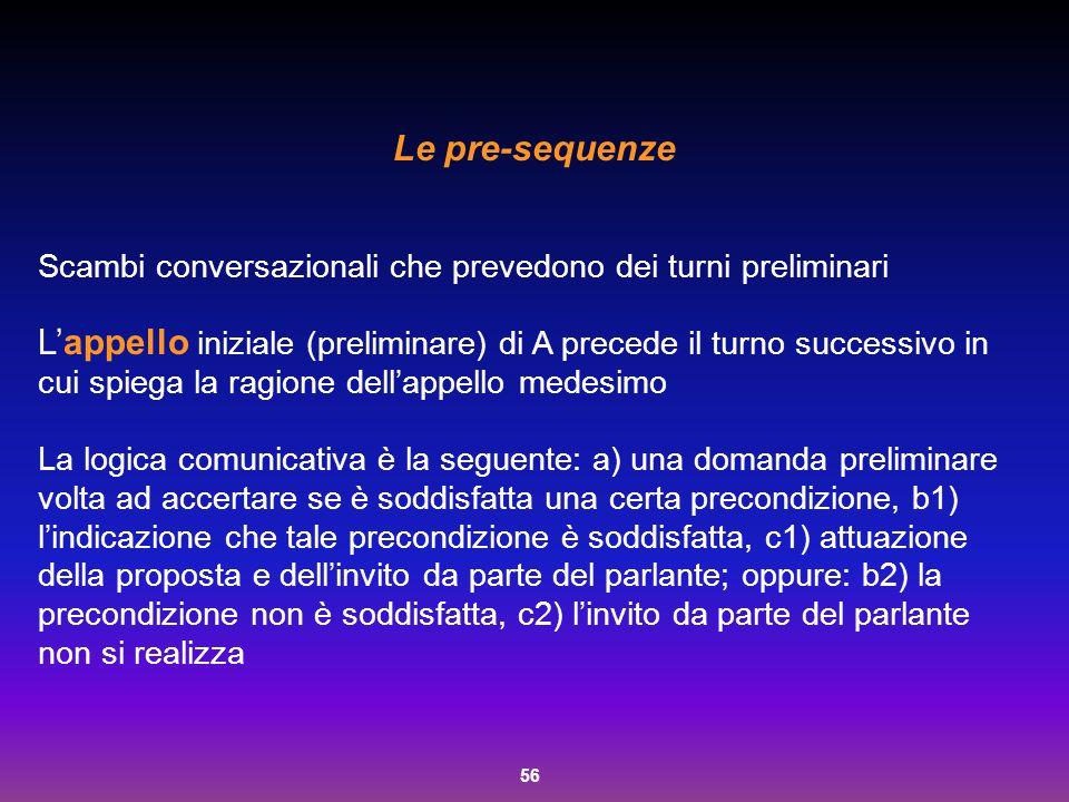 56 Le pre-sequenze Scambi conversazionali che prevedono dei turni preliminari L'appello iniziale (preliminare) di A precede il turno successivo in cui