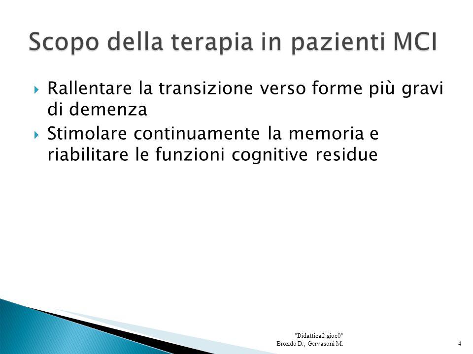  Rallentare la transizione verso forme più gravi di demenza  Stimolare continuamente la memoria e riabilitare le funzioni cognitive residue 4 Didattica2.gioc0 Brondo D., Gervasoni M.