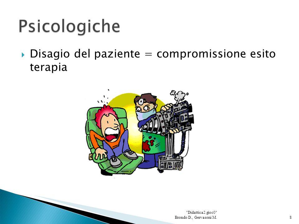  Disagio del paziente = compromissione esito terapia 8 Didattica2.gioc0 Brondo D., Gervasoni M.