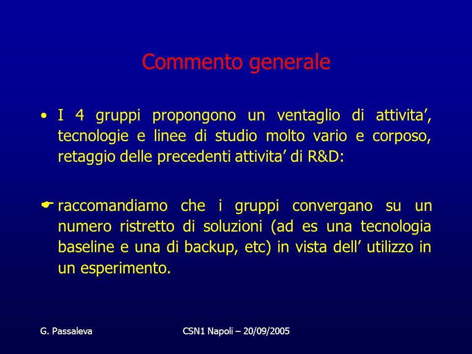 G. PassalevaCSN1 Napoli – 20/09/2005 Commento generale I 4 gruppi propongono un ventaglio di attivita', tecnologie e linee di studio molto vario e cor