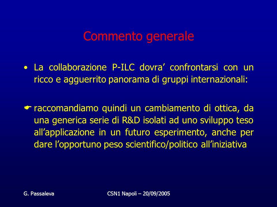 G. PassalevaCSN1 Napoli – 20/09/2005 Commento generale La collaborazione P-ILC dovra' confrontarsi con un ricco e agguerrito panorama di gruppi intern