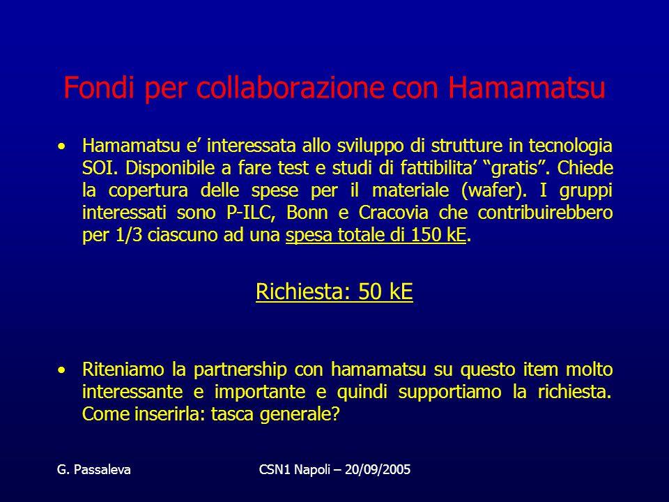 G. PassalevaCSN1 Napoli – 20/09/2005 Fondi per collaborazione con Hamamatsu Hamamatsu e' interessata allo sviluppo di strutture in tecnologia SOI. Dis