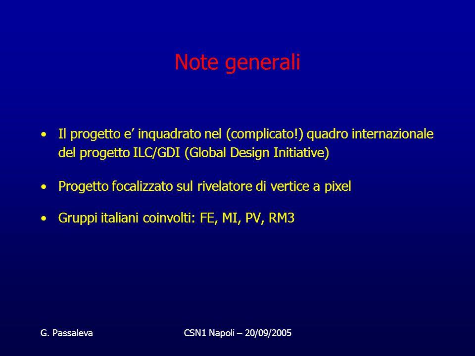 G. PassalevaCSN1 Napoli – 20/09/2005 Note generali Il progetto e' inquadrato nel (complicato!) quadro internazionale del progetto ILC/GDI (Global Desi