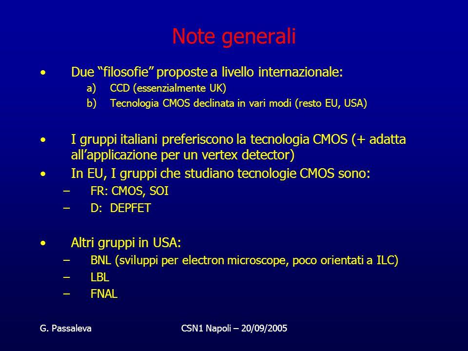 """G. PassalevaCSN1 Napoli – 20/09/2005 Note generali Due """"filosofie"""" proposte a livello internazionale: a)CCD (essenzialmente UK) b)Tecnologia CMOS decl"""