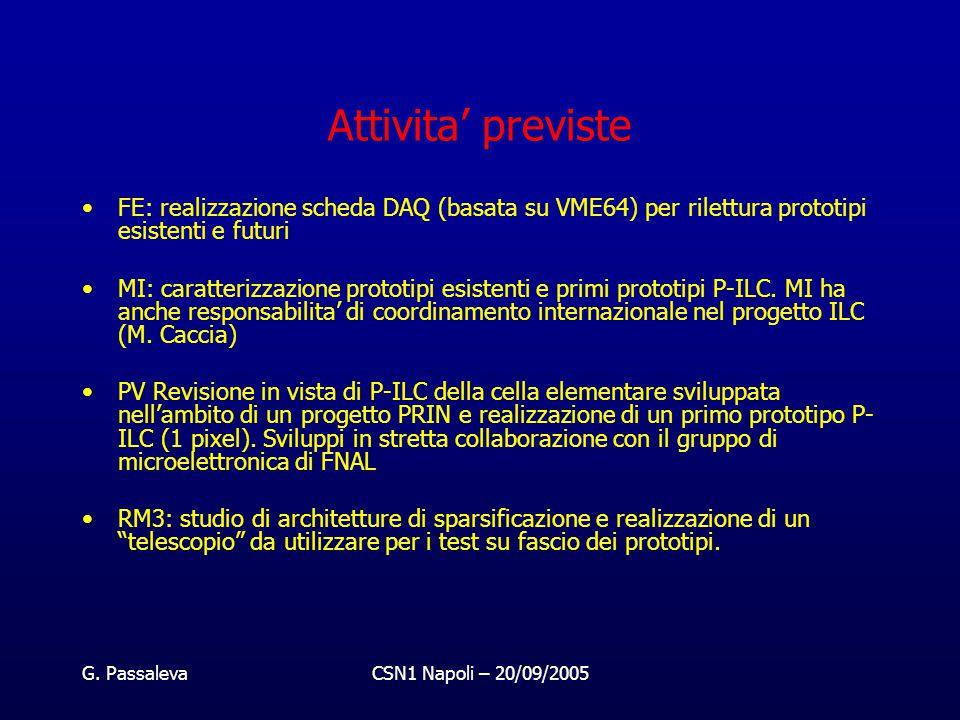 G. PassalevaCSN1 Napoli – 20/09/2005 Attivita' previste FE: realizzazione scheda DAQ (basata su VME64) per rilettura prototipi esistenti e futuri MI: