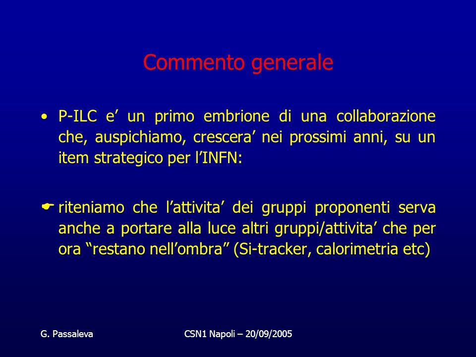 G. PassalevaCSN1 Napoli – 20/09/2005 Commento generale P-ILC e' un primo embrione di una collaborazione che, auspichiamo, crescera' nei prossimi anni,