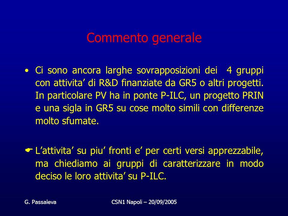 G. PassalevaCSN1 Napoli – 20/09/2005 Commento generale Ci sono ancora larghe sovrapposizioni dei 4 gruppi con attivita' di R&D finanziate da GR5 o alt