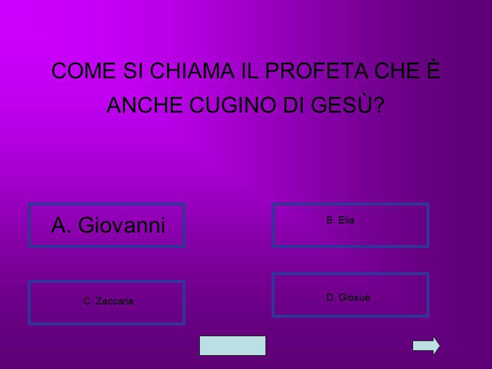 COME SI CHIAMA IL PROFETA CHE È ANCHE CUGINO DI GESÙ? A. Giovanni B. Elia C. Zaccaria D. Giosuè