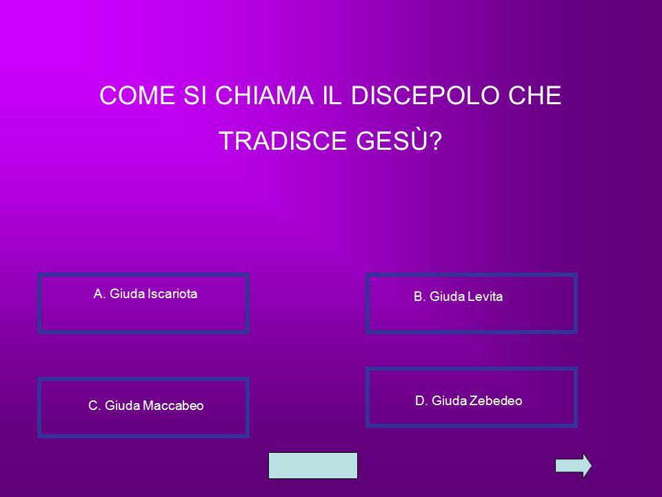 COME SI CHIAMA IL DISCEPOLO CHE TRADISCE GESÙ.A. Giuda Iscariota B.