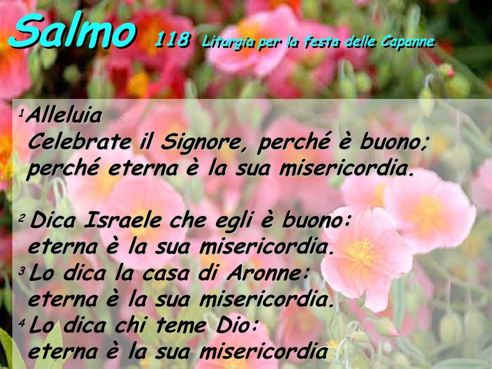 Salmo 118 Liturgia per la festa delle Capanne 1 Alleluia Celebrate il Signore, perché è buono; Celebrate il Signore, perché è buono; perché eterna è l