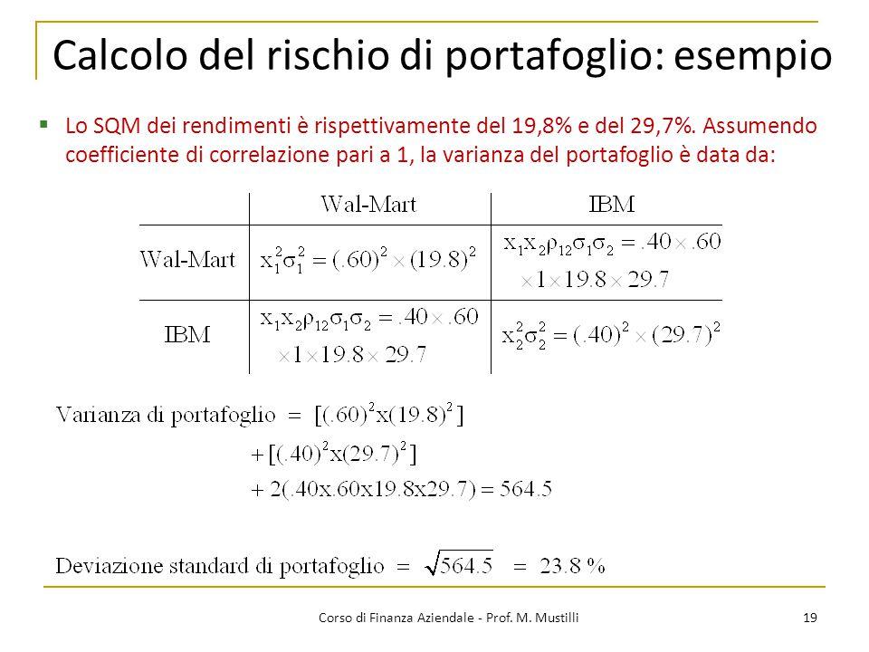 19Corso di Finanza Aziendale - Prof. M. Mustilli Calcolo del rischio di portafoglio: esempio  Lo SQM dei rendimenti è rispettivamente del 19,8% e del