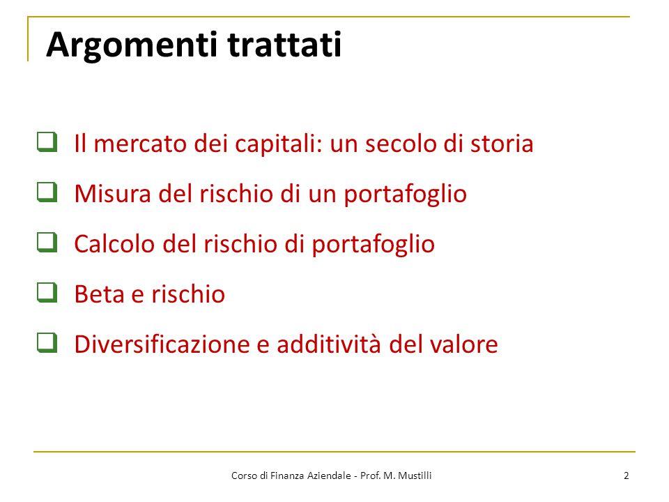 Rischio di portafoglio per N titoli 23Corso di Finanza Aziendale - Prof.