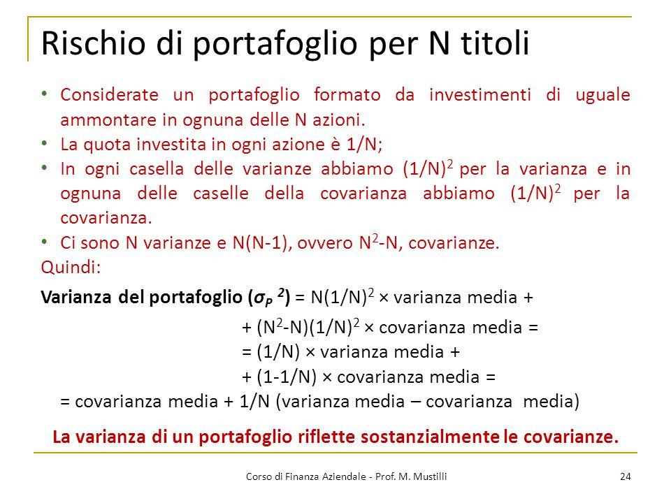 Rischio di portafoglio per N titoli 24Corso di Finanza Aziendale - Prof. M. Mustilli Considerate un portafoglio formato da investimenti di uguale ammo