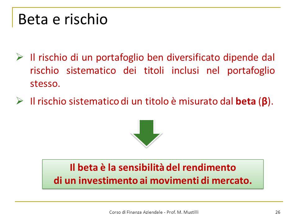 Beta e rischio 26Corso di Finanza Aziendale - Prof. M. Mustilli  Il rischio di un portafoglio ben diversificato dipende dal rischio sistematico dei t