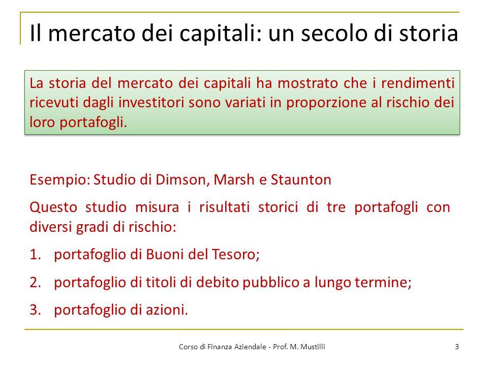 Il mercato dei capitali: un secolo di storia 3Corso di Finanza Aziendale - Prof. M. Mustilli Esempio: Studio di Dimson, Marsh e Staunton Questo studio