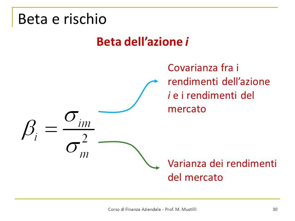 Beta e rischio 30Corso di Finanza Aziendale - Prof. M. Mustilli Varianza dei rendimenti del mercato Covarianza fra i rendimenti dell'azione i e i rend