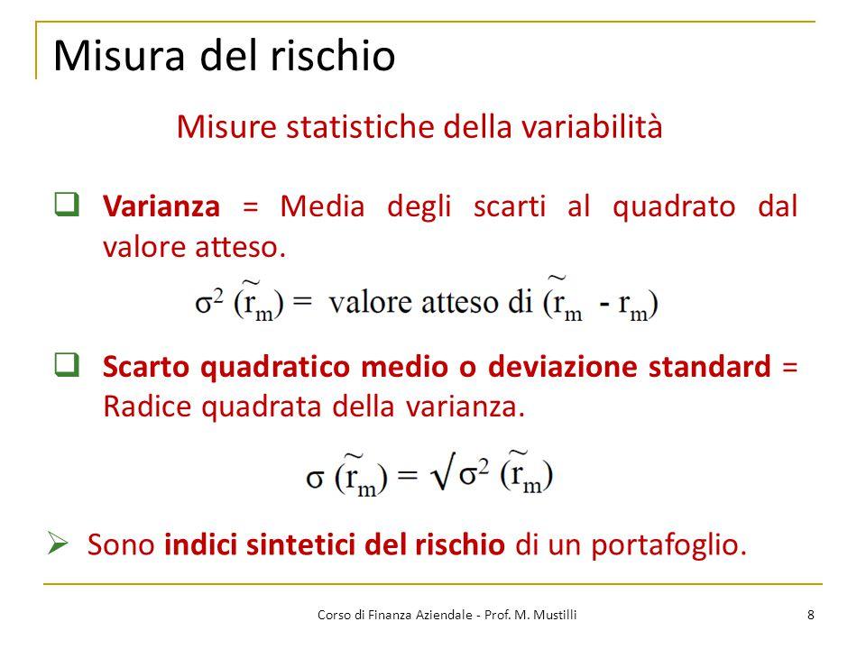 Misura del rischio 8Corso di Finanza Aziendale - Prof.