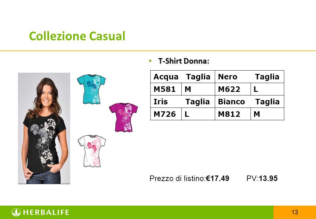 13 T-Shirt Donna: T-Shirt Donna: Acqua TagliaNero Taglia M581MM622L Iris TagliaBianco Taglia M726LM812M Prezzo di listino:€17.49 PV:13.95 Collezione C