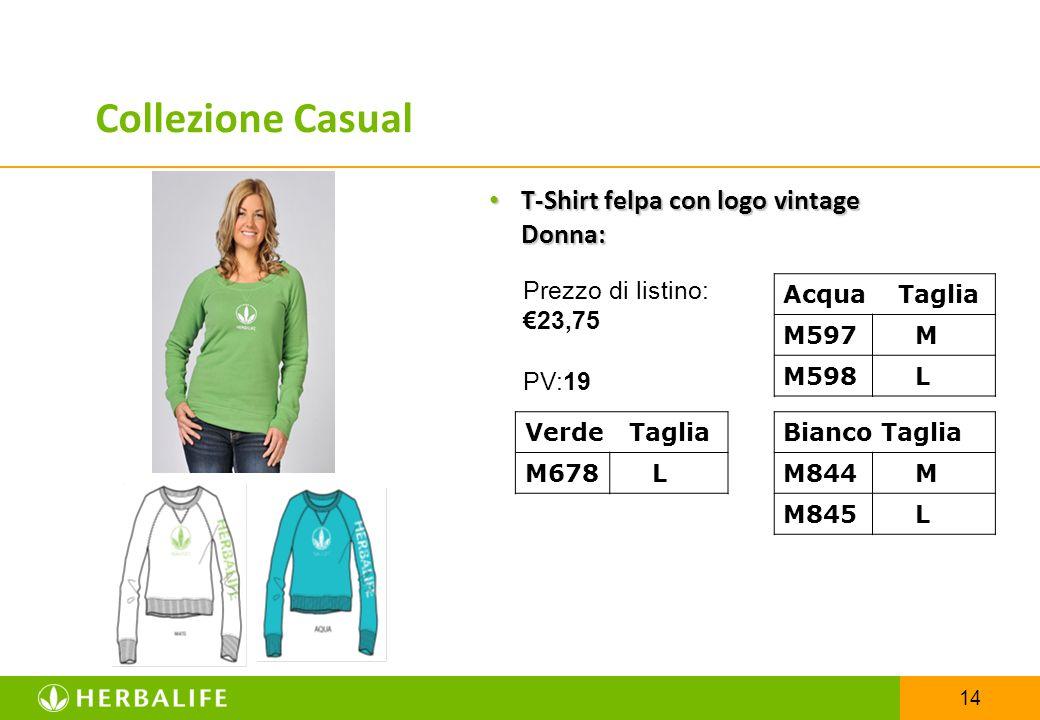 14 T-Shirt felpa con logo vintage Donna: T-Shirt felpa con logo vintage Donna: Acqua Taglia M597 M M598 L Verde Taglia M678 L Bianco Taglia M844 M M84