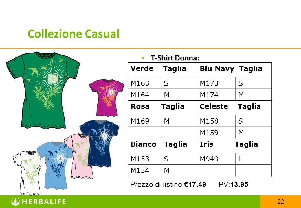 22 T-Shirt Donna: T-Shirt Donna: Verde TagliaBlu Navy Taglia M163SM173S M164MM174M Rosa TagliaCeleste Taglia M169MM158S M159M Bianco TagliaIris Taglia