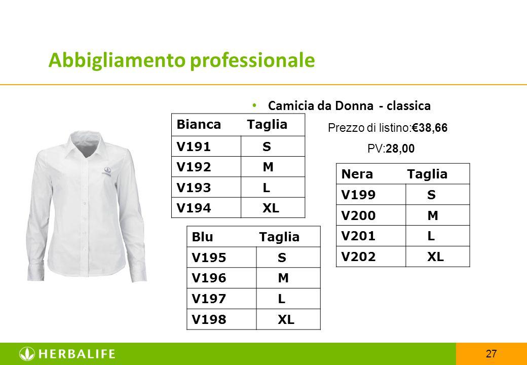 27 Camicia da Donna- classica Prezzo di listino:€38,66 PV:28,00 Bianca Taglia V191 S V192 M V193 L V194 XL Abbigliamento professionale Nera Taglia V19