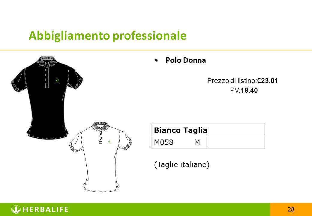 28 Bianco Taglia M058 M (Taglie italiane) Polo DonnaPolo Donna Prezzo di listino:€23.01 PV:18.40 Abbigliamento professionale