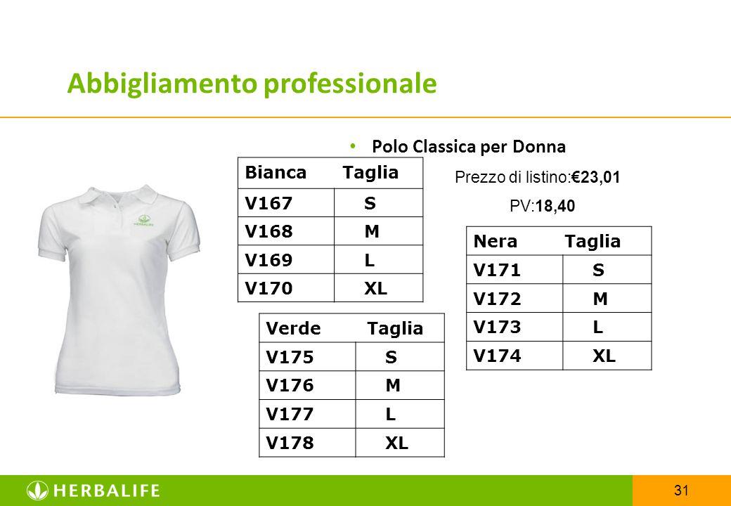 31 Polo Classica per Donna Prezzo di listino:€23,01 PV:18,40 Bianca Taglia V167 S V168 M V169 L V170 XL Abbigliamento professionale Nera Taglia V171 S