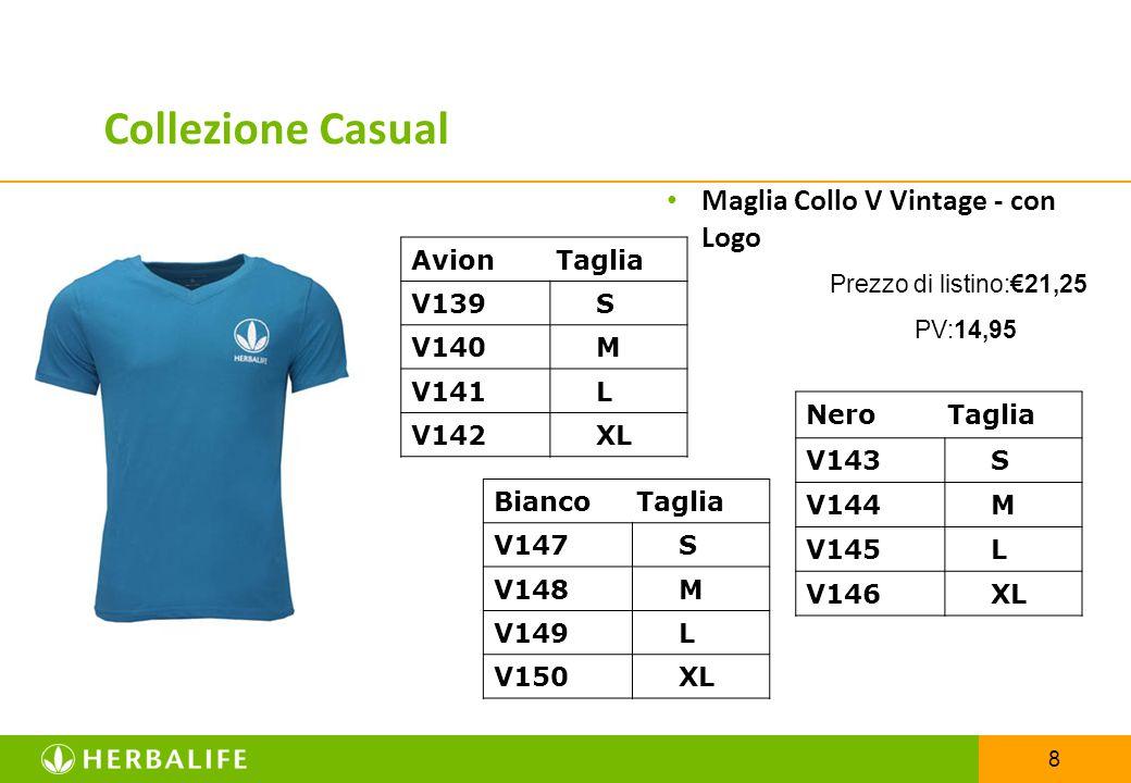 8 Maglia Collo V Vintage - con Logo Prezzo di listino:€21,25 PV:14,95 Avion Taglia V139 S V140 M V141 L V142 XL Collezione Casual Nero Taglia V143 S V