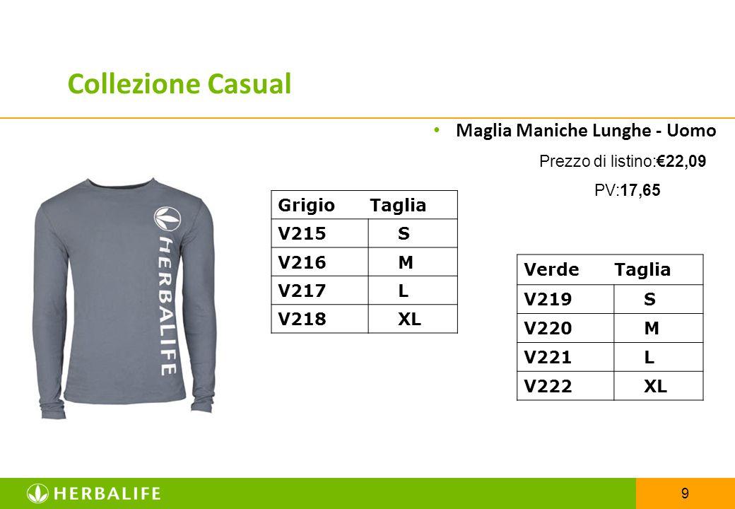 9 Maglia Maniche Lunghe - Uomo Prezzo di listino:€22,09 PV:17,65 Collezione Casual Verde Taglia V219 S V220 M V221 L V222 XL Grigio Taglia V215 S V216