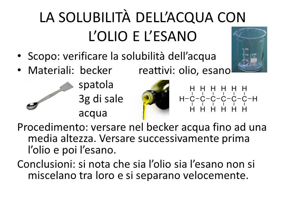 LA SOLUBILITÀ DELL'ACQUA CON L'OLIO E L'ESANO Scopo: verificare la solubilità dell'acqua Materiali: becker reattivi: olio, esano spatola 3g di sale ac