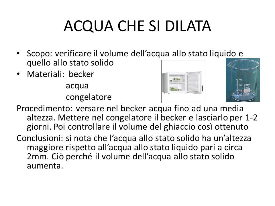 ACQUA CHE SI DILATA Scopo: verificare il volume dell'acqua allo stato liquido e quello allo stato solido Materiali: becker acqua congelatore Procedime