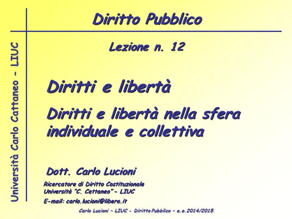 Carlo Lucioni – LIUC - Diritto Pubblico – a.a.2014/2015 Università Carlo Cattaneo - LIUC Libertà individuale Statuto albertino Art.
