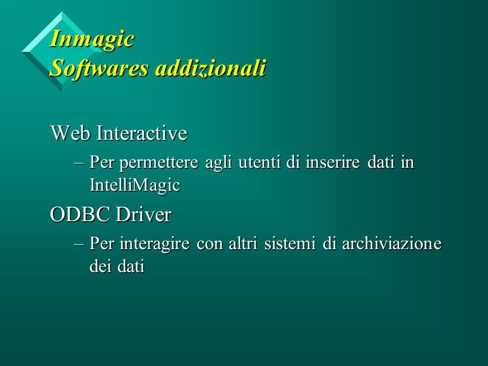 Inmagic Softwares addizionali Web Interactive –Per permettere agli utenti di inserire dati in IntelliMagic ODBC Driver –Per interagire con altri sistemi di archiviazione dei dati