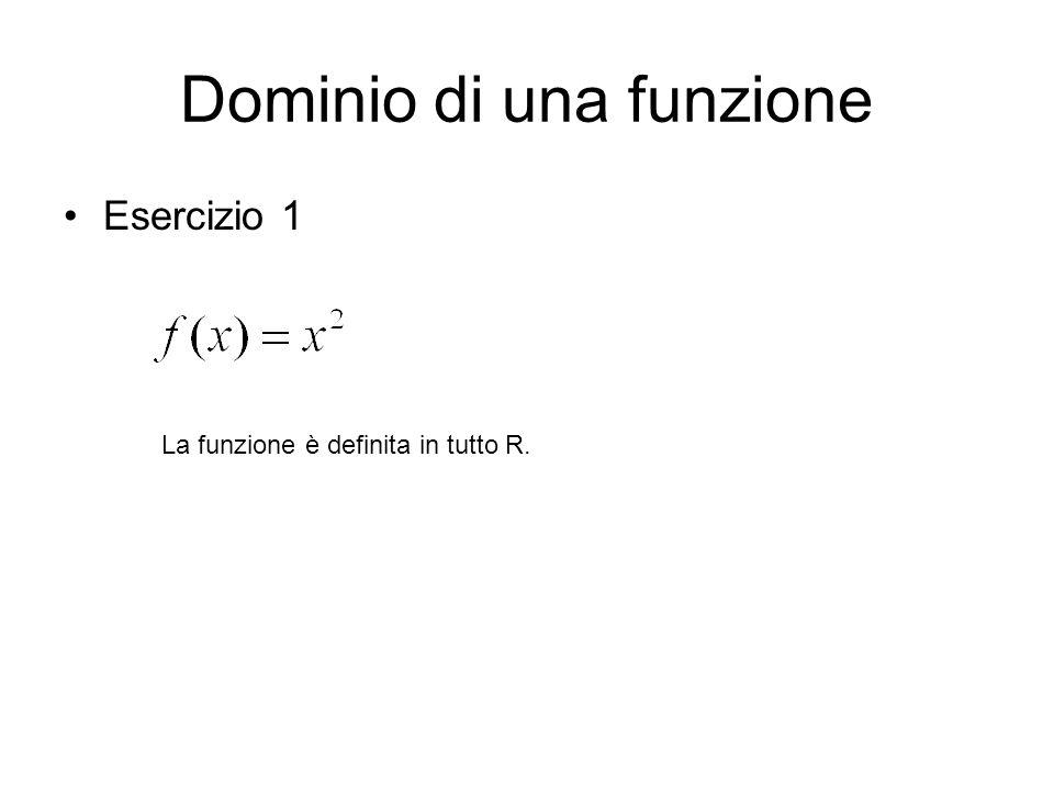 Dominio di una funzione Esercizio 1 La funzione è definita in tutto R.