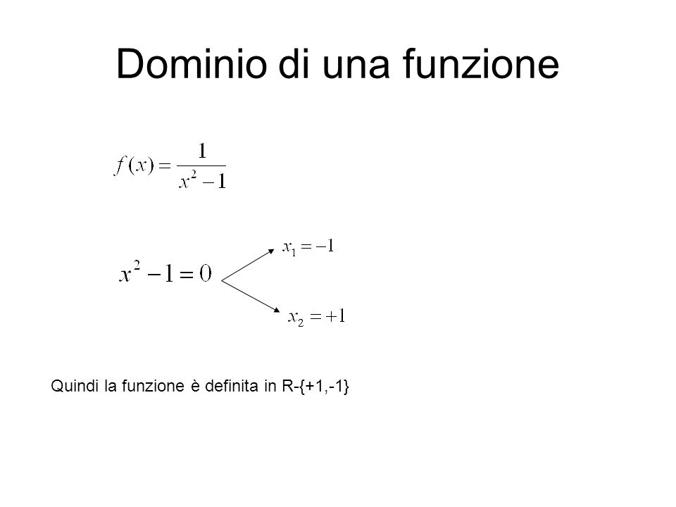 Dominio di una funzione Quindi la funzione è definita in R-{+1,-1}