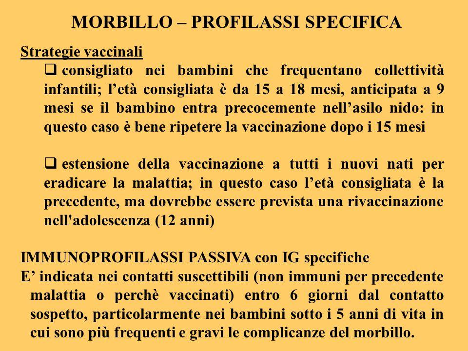MORBILLO – PROFILASSI SPECIFICA Strategie vaccinali  consigliato nei bambini che frequentano collettività infantili; l'età consigliata è da 15 a 18 m