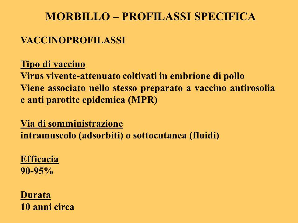 MORBILLO – PROFILASSI SPECIFICA VACCINOPROFILASSI Tipo di vaccino Virus vivente-attenuato coltivati in embrione di pollo Viene associato nello stesso