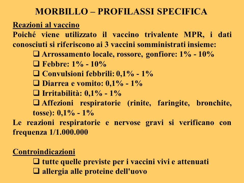 MORBILLO – PROFILASSI SPECIFICA Reazioni al vaccino Poiché viene utilizzato il vaccino trivalente MPR, i dati conosciuti si riferiscono ai 3 vaccini s