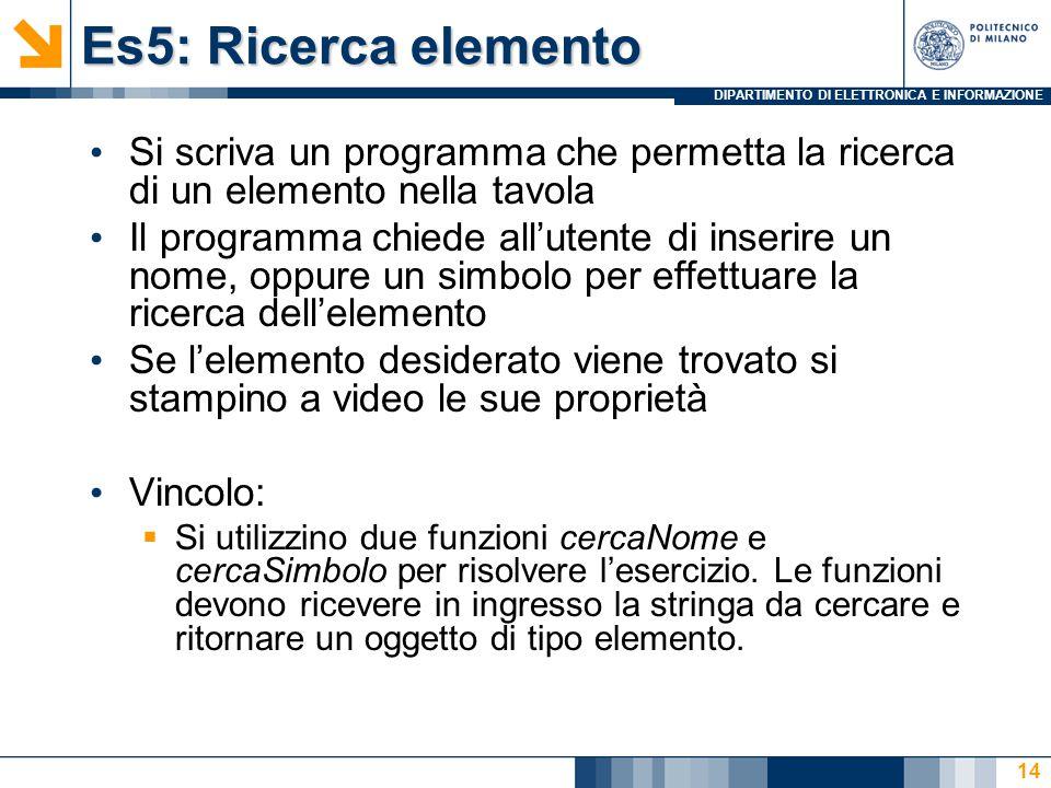 DIPARTIMENTO DI ELETTRONICA E INFORMAZIONE Es5: Ricerca elemento Si scriva un programma che permetta la ricerca di un elemento nella tavola Il programma chiede all'utente di inserire un nome, oppure un simbolo per effettuare la ricerca dell'elemento Se l'elemento desiderato viene trovato si stampino a video le sue proprietà Vincolo:  Si utilizzino due funzioni cercaNome e cercaSimbolo per risolvere l'esercizio.
