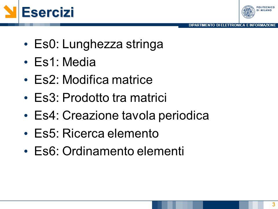 DIPARTIMENTO DI ELETTRONICA E INFORMAZIONEEsercizi Es0: Lunghezza stringa Es1: Media Es2: Modifica matrice Es3: Prodotto tra matrici Es4: Creazione tavola periodica Es5: Ricerca elemento Es6: Ordinamento elementi 3