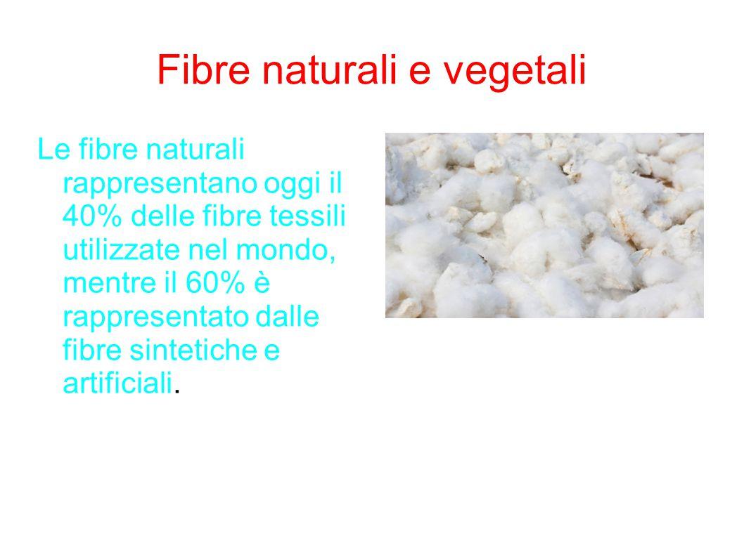 Fibre naturali e vegetali Le fibre naturali rappresentano oggi il 40% delle fibre tessili utilizzate nel mondo, mentre il 60% è rappresentato dalle fi