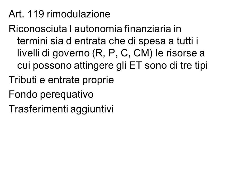 Art. 119 rimodulazione Riconosciuta l autonomia finanziaria in termini sia d entrata che di spesa a tutti i livelli di governo (R, P, C, CM) le risors