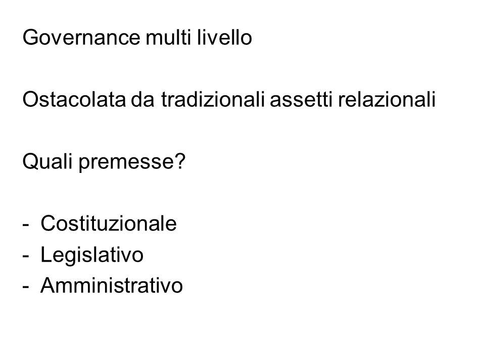 Governance multi livello Ostacolata da tradizionali assetti relazionali Quali premesse? -Costituzionale -Legislativo -Amministrativo